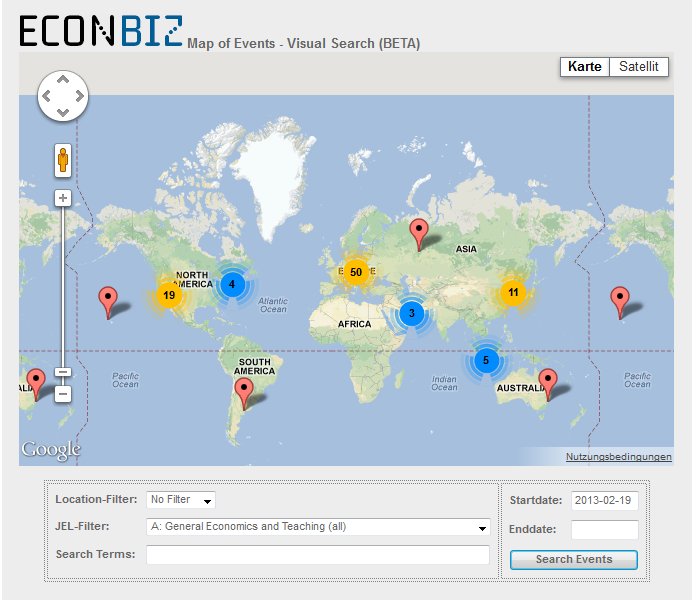 EconBiz: Visual Event Search