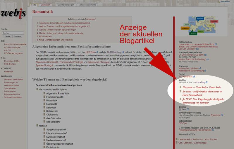 Anzeige Blogartikel auf der webis-Seite des FID Romanistik