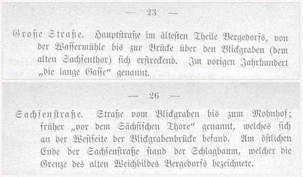 """VOIGT 1888, S. 23: """"Große Straße"""", S. 26: """" Sachsenstraße"""""""