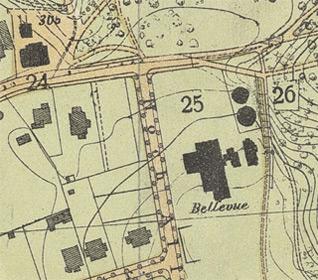 Karte der Stadt Bergedorf 1905 – Ausschnitt-Bellevue