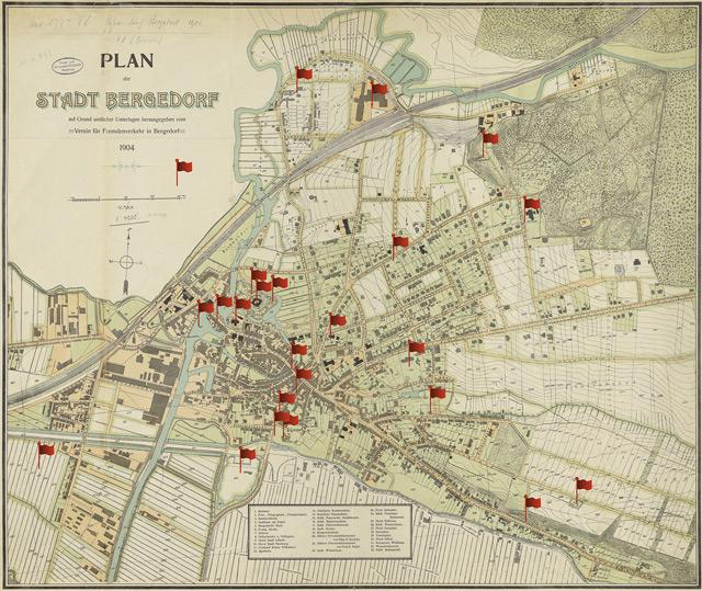 Karte der Stadt Bergedorf. 1904