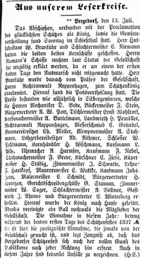 Ergebnis Schützenfest; 14.07.1887, Nr. 81, S. 1, Sp. 1