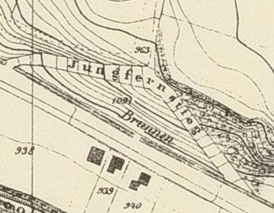 Auf der Karte von 1875 eingezeichneter Brunnen