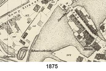 Kartenausschnitt 1875 des knieförmigen Hafens am Schiffwasser