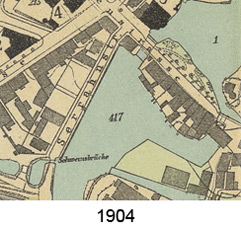 Kartenausschnitt 1904 des knieförmigen Hafens am Schiffwasser