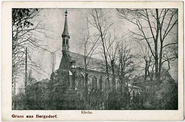 """Ansichtskarte """"Kirche – Gruß aus Bergedorf"""""""