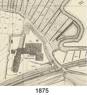 Kartenausschnitt 1875 bei 'Actienbrauerei'