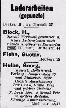 Hamburger Adressbuch 1910 im Branchenteil auf S. III/218