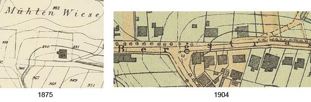 Kartenausschnitt Krankenhaus, 1875 und 1904
