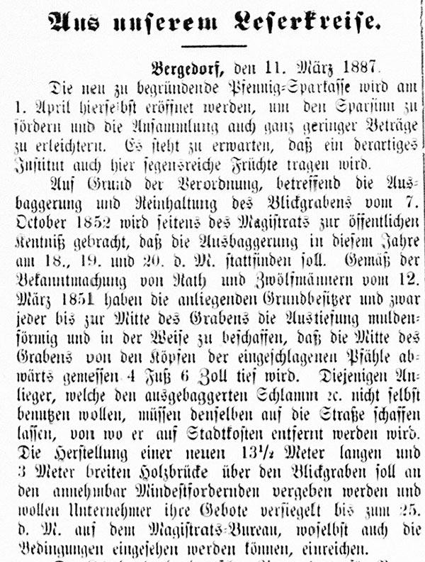 Vierländer Nachrichten vom 12.03. 1887, No. 30, S. 1, Sp. 1