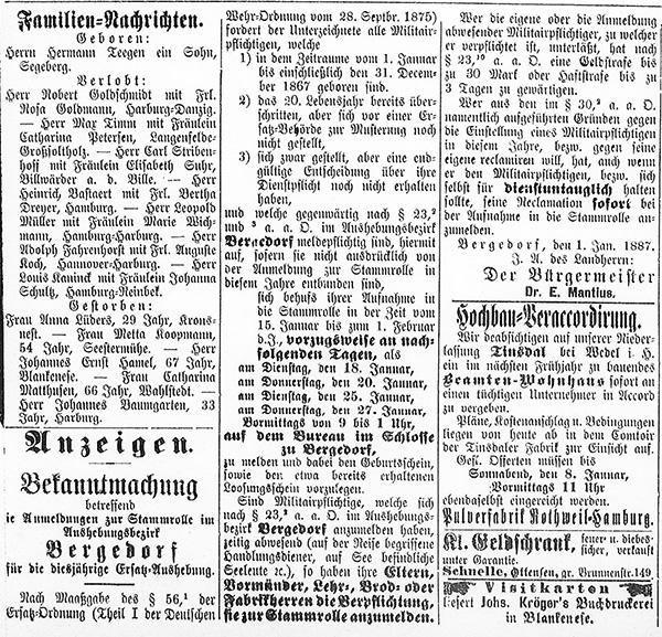 Vierländer Nachrichten 06.01.1887 (No. 2), S. 3, Sp. 1 – 3: Bekanntmachung zur Wehr-Registrierung