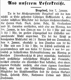 Vierländer Nachrichten 08.01.1887 (No. 3), S. 1, Sp. 1: Kirchenvorstandswahlung