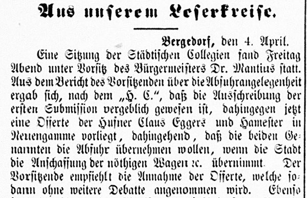Vierländer Nachrichten vom 05.04.1887, No. 40, S. 1