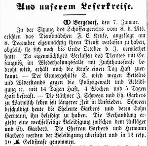 Vierländer Nachrichten 13.01.1887 (No. 5), S. 1, Sp. 1