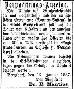 Vierländer Nachrichten 15.01.1887 (No. 6); Ausschreibung der Abfuhr