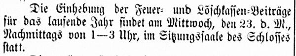 Vierländer Nachrichten 08.02.1887 (No. 16); Einhebung der Feuer- und Löschkassenbeiträge im Schloss
