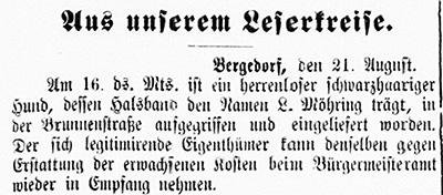 Vierländer Nachrichten 23.08.1887 (No. 98): Hund zugelaufen, beim Bürgermeisteramt abzuholen