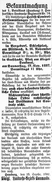 Vierländer Nachrichten 04.10.1887 (No. 116): Militär-Control-Versammlung auf dem Schlossplatz