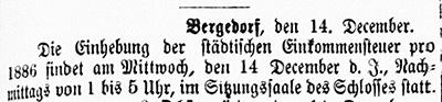 Vierländer Nachrichten 15.12.1887 (No. 147): Terminbekanntgabe: Einhebung von Steuern im Schloss