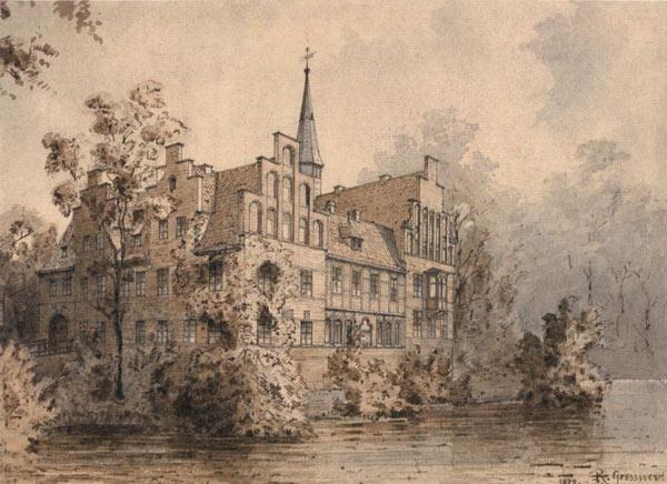 Postkarte Schloss Bergedorf, Südwestansicht, Aquarell von Richard Gressner, 1879. Wiedergabe mit freundlicher Genehmigung des Museums für Bergedorf und die Vierlande.