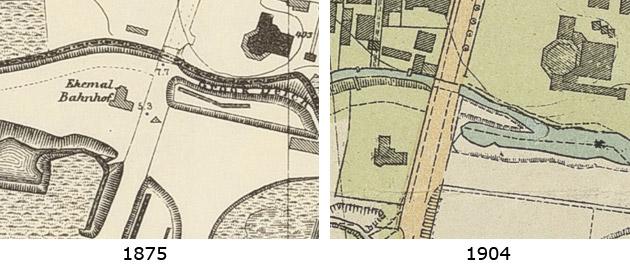 """Kartenausschnitt """"ehemaliger Bahnhof"""" 1875 (links) – 1904 (rechts)"""