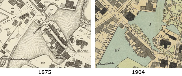 Kartenausschnitt  'Holstenstraße' mit den umgebenden Wasserflächen Serrahn und Bille-Becken – 1875 (links) 1904 (rechts)