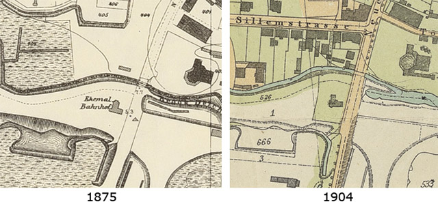 Kartenausschnitt Italienisches Viertel 1875 (links) – 1904 (rechts)