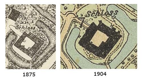 Das Schloss auf den Karten von 1875 (links) und 1904 (rechts)