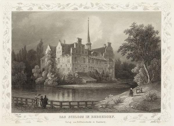 C.M. Laeisz, Das Schloss in Bergedorf, in SUB-Sig KS 1025/909, Tafel 64 (1848) oder KS 1025/903 (1850)