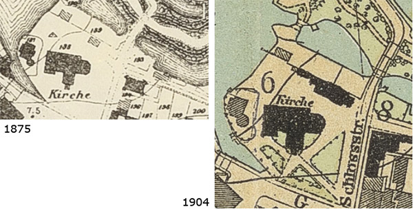 Kartenausschnitte um Kirche herum 1875 (links) und 1904 (rechts)