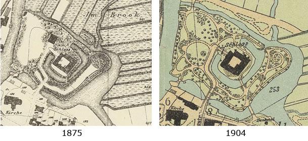 Schlosspark Karten 1875 (links) - 1904 (rechts)