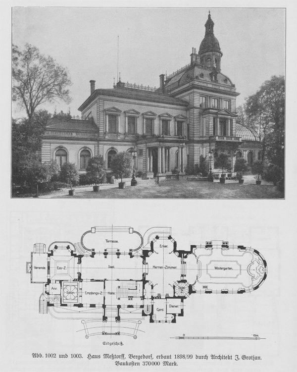 Villa-Messtorf und Grundriss des Gebäudes